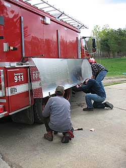Stainless steel diamond plate unit on a fire truck